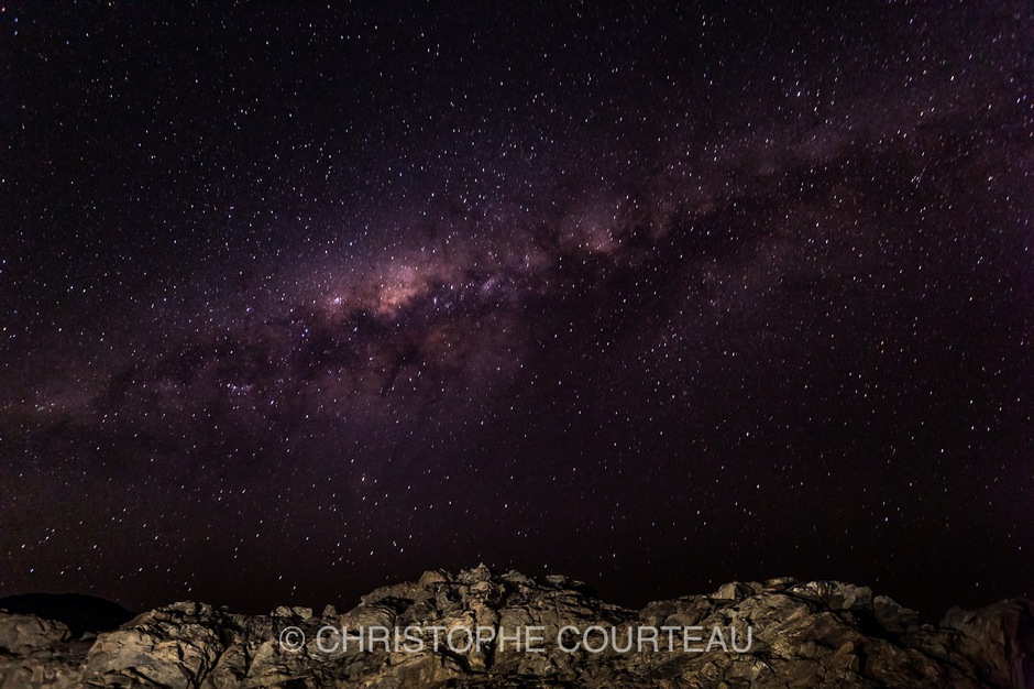 Nocturnal Sky with the Milky Way over the Mountains of the Damaraland in Namibia